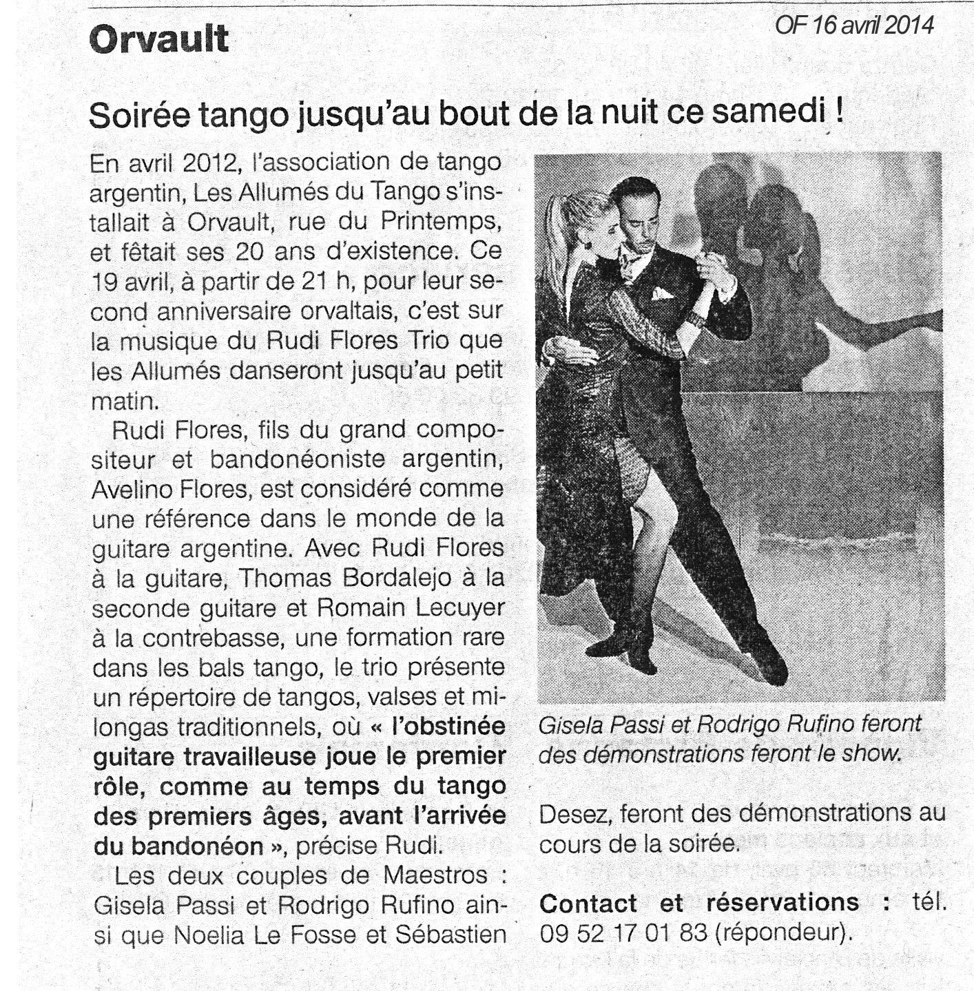 OUEST FRANCE 042014  - Concert Rudi Flores trio