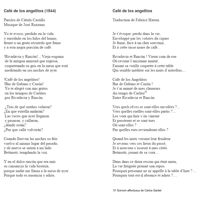 Paroles Cafe de los Angelitos