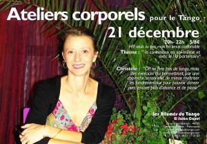 flyer atelier corporel Noel Christelle du 21 décembre Tournée